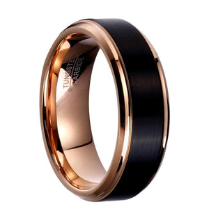 8mm Rose Golg Tungsten Carbide Ring - Giliarto