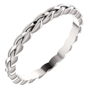 14K White 2 mm Woven Band