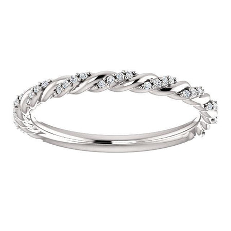 14K White 1/8 CTW Moissanite Pavé Twisted Anniversary Band