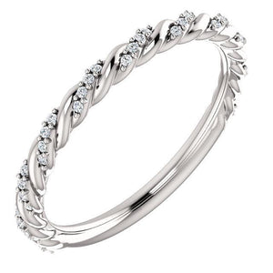 14K White 1/8 CTW Diamond Pavé Twisted Anniversary Band