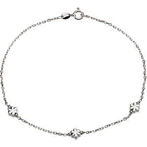 "Sterling Silver 3 mm Flower 10"" Anklet"