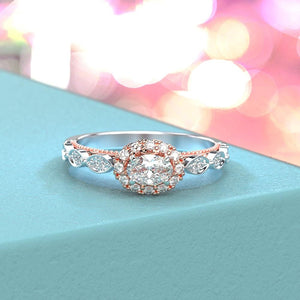 Adara Oval Moissanite Diamond Halo Engagement Ring
