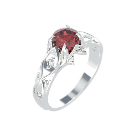 1.0 Carat white gold princess cut ruby engagement rings I 14K White Gold-8 Natural Diamond Accents