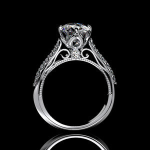 2 Carat Forever One Moissanite Engagement 14K White Gold Ring Classic Customized Design Your Own Ring