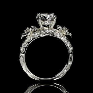 "''Lola"" 2.0 Carat Forever One Moissanite Diamond Floral Engagement Ring"