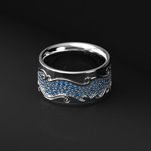 "14K White Gold Men's ""Dragon"" Ring - Giliarto mobile"