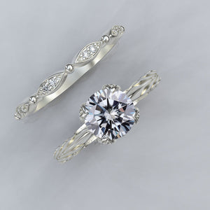 1.0 Carat Gray Moissanite Diamond Engagement Eternity Ring Set