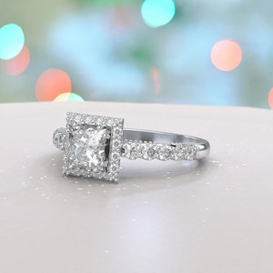 1.5 Carat Adara Princess  Moissanite Diamond Halo Engagement Ring