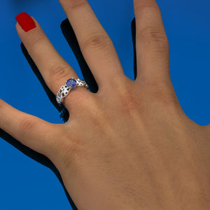 1.0 Carat Winter Sapphire Engagement Ring