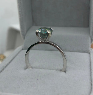 2.0 Carat Green Moissanite Stone 10K White Gold Ring