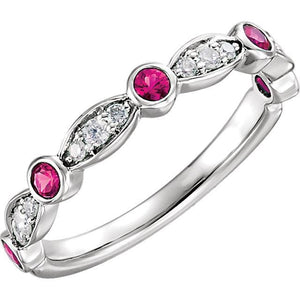 14K White Ruby & 1/6 CTW Diamond Ring