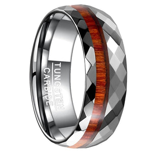 Wood Grain Tungsten Carbide Ring - Giliarto