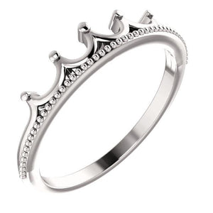 14K White Stackable Crown Ring