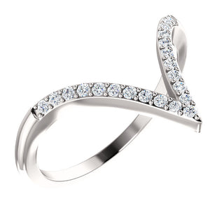 "14K White Gold 1/6 CTW Diamond ""V"" Ring"