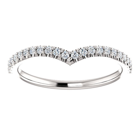 14K White Gold 1/5 CTW Diamond V Band