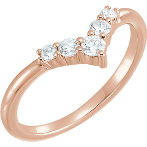 "14K Rose Gold 1/4 CTW Diamond Graduated ""V"" Ring"