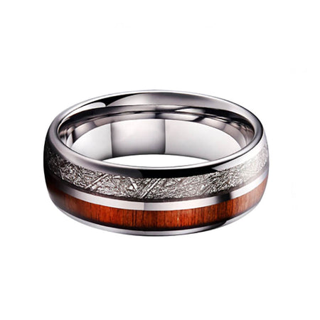 Meteorite and Koa Wood Tungsten Carbide Rings