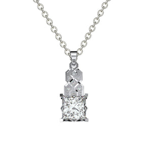 1.0 Carat Princess Cut Forever One Moissanite Diamond  Pendant Necklace I 10K White Gold- 14 Accent Stones