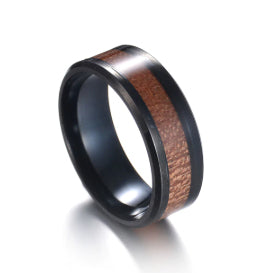 Black Stainless Steel Genuine Hawaii Koa Wood Inlay  Wedding Rings  Engagement Ring