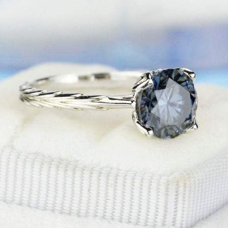 2 Carat Dark Gray Blue Moissanite Gold Engagement Ring