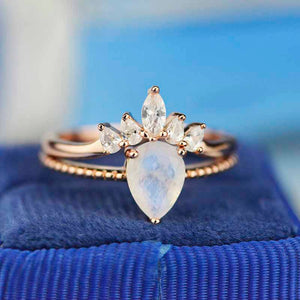 Pear Cut Moonstone Ring- Two Ring Set.