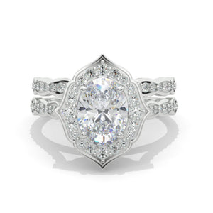Oval Moissanite Halo Engagement Ring