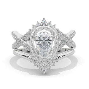 Pear Moissanite Halo Twisted Engagement Ring