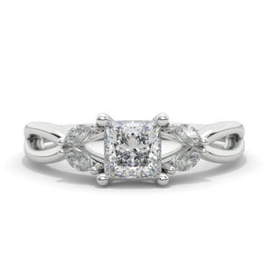 Princess Cut  Moissanite/Diamond Twisted Shank Engagement Ring