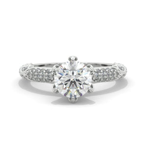 2 Carat  Moissanite Floral  White Gold Engagement  Ring