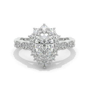 14K White Gold 1.5 Carat Pear Moissanite Halo Engagement Ring