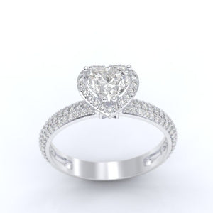 ''Carmen'' Heart Halo Forever One Moissanite 14K Gold Moissanite Engagement Ring