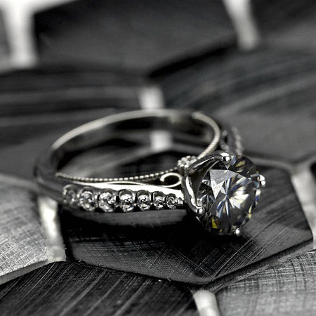 2 Carat Dark Gray Grey Moissanite Engagement 14K White Gold Ring Classic Customized Design Your Own Ring