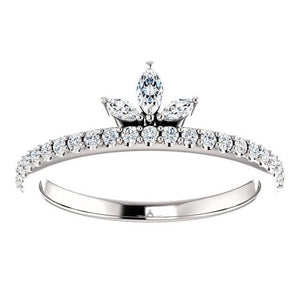14K Gold 1/3 CTW Diamond Stackable Crown Ring - Giliarto
