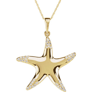 "14K Yellow 1/5 CTW Diamond Starfish 18"" Necklace"