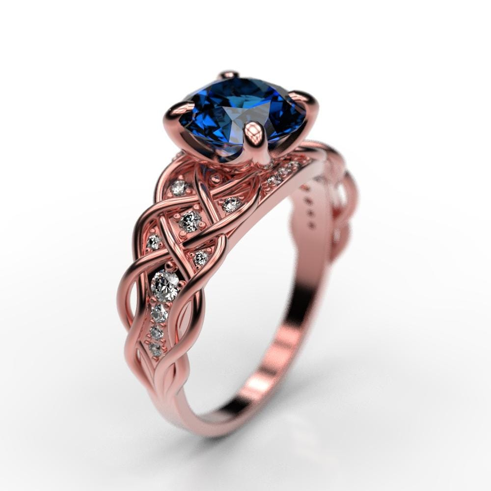 simple gold engagement rg jewelry princess with stone diamond three rose ring sapphire cut carat blue nl half in