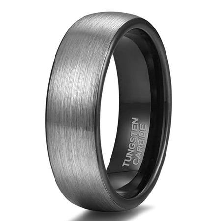 Pure Black Tungsten Ring Brushed Finish Wedding Band