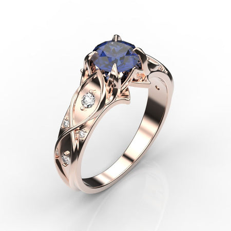 1 Carat Sapphire/Ruby Diamond Gold Celtic Engagement Ring