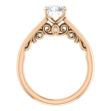 14K Rose Gold  6.5 mm Round Forever One Moissanite   .03 CTW Diamond  Engagement Ring
