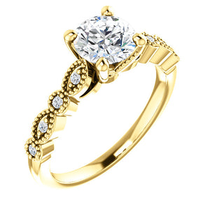 14K Gold  6.5 mm Round Forever One Moissanite  .07 CTW Diamond Engagement Ring