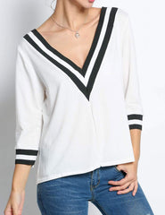 White Striped 3/4 Sleeve Contrast Color Casual Tops