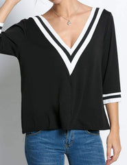 Black Striped 3/4 Sleeve Contrast Color Casual Tops