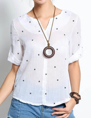 White Medium Sleeve Print Loose Beach Tops