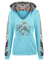 Blue Abstract Patchwork Hoodie