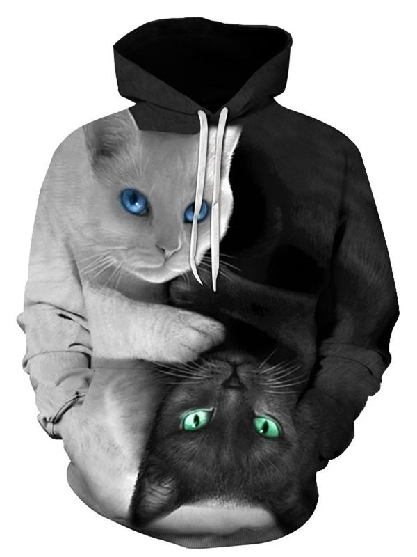 3D Two Cats Print Hoodies
