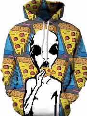 3D Alien Eating Pizza Hoodie
