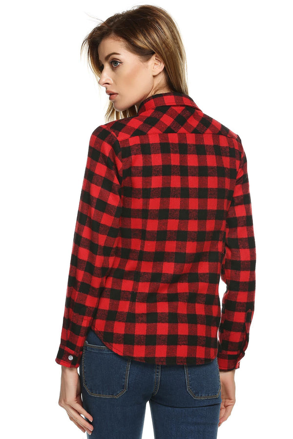 Black red Buttoned Cotton Lapel Plaids Checks Flannel Shirts