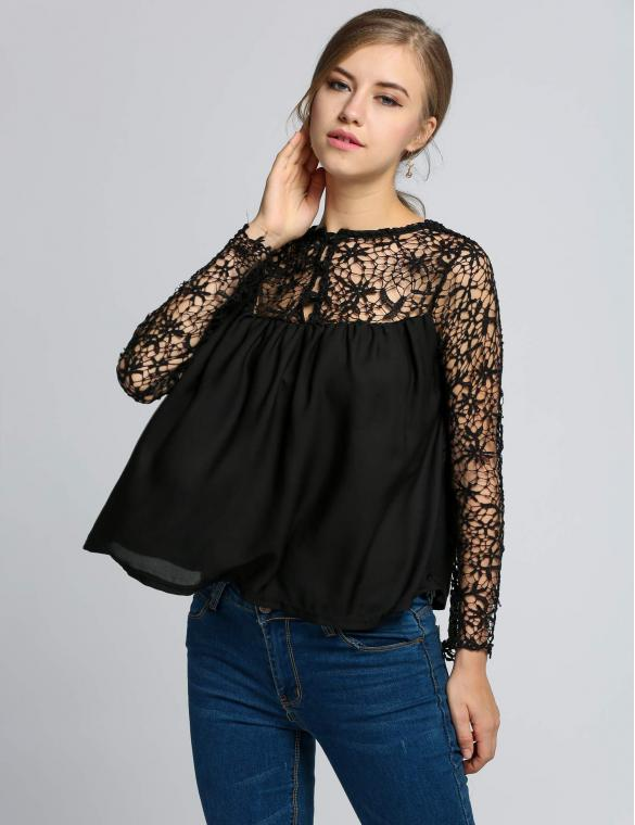 Black Summer Casual Floral Chiffon Tops