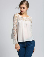 White Summer Casual Floral Chiffon Tops