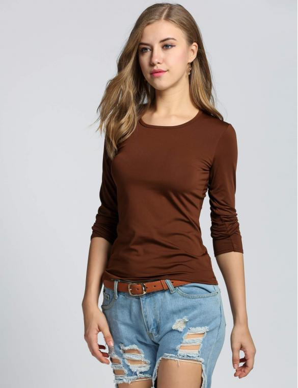 Coffee Cotton Crew Neck Pullover T-shirt