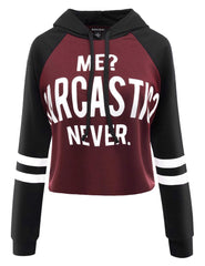 Wine Red Raglan Letter Hoodies